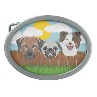 Illustration lucky dogs on a wooden fence oval belt buckle