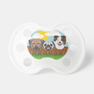 Illustration lucky dogs on a wooden fence pacifier