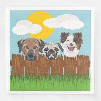 Illustration lucky dogs on a wooden fence paper napkins