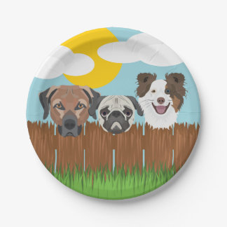 Illustration lucky dogs on a wooden fence paper plate