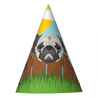 Illustration lucky dogs on a wooden fence party hat