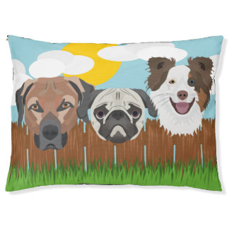 Illustration lucky dogs on a wooden fence pet bed