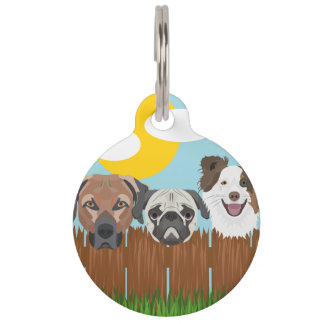 Illustration lucky dogs on a wooden fence pet name tag