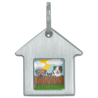 Illustration lucky dogs on a wooden fence pet tag
