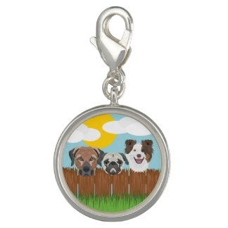 Illustration lucky dogs on a wooden fence photo charm