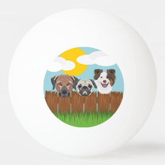 Illustration lucky dogs on a wooden fence ping pong ball