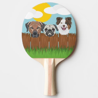 Illustration lucky dogs on a wooden fence ping pong paddle