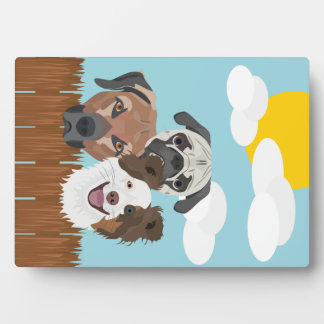 Illustration lucky dogs on a wooden fence plaque