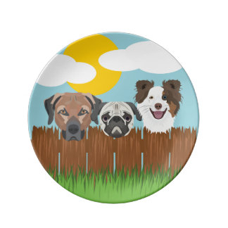 Illustration lucky dogs on a wooden fence plate