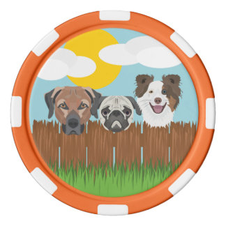 Illustration lucky dogs on a wooden fence poker chips