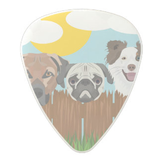 Illustration lucky dogs on a wooden fence polycarbonate guitar pick