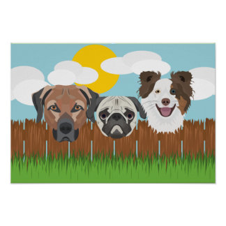 Illustration lucky dogs on a wooden fence poster