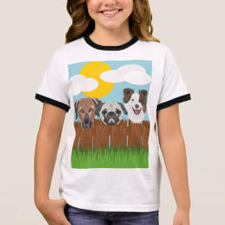Illustration lucky dogs on a wooden fence ringer T-Shirt