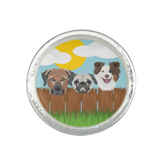 Illustration lucky dogs on a wooden fence rings
