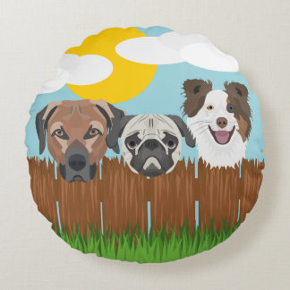 Illustration lucky dogs on a wooden fence round pillow