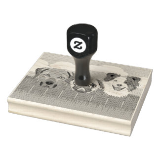 Illustration lucky dogs on a wooden fence rubber stamp