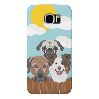 Illustration lucky dogs on a wooden fence samsung galaxy s6 cases