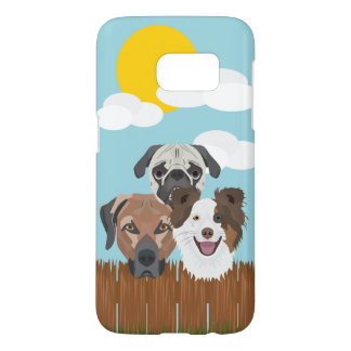 Illustration lucky dogs on a wooden fence samsung galaxy s7 case