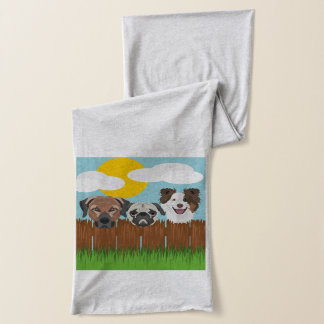 Illustration lucky dogs on a wooden fence scarf