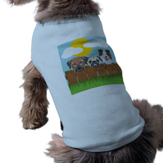 Illustration lucky dogs on a wooden fence shirt