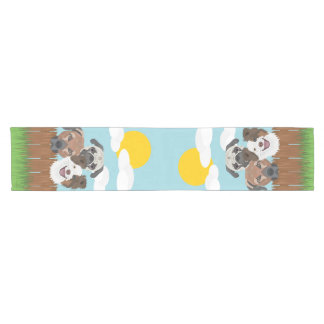 Illustration lucky dogs on a wooden fence short table runner