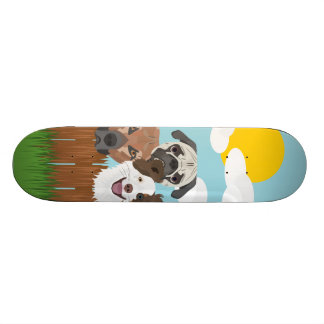 Illustration lucky dogs on a wooden fence skateboard