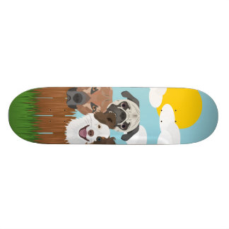Illustration lucky dogs on a wooden fence skateboard deck