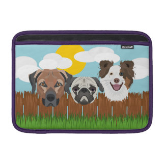 Illustration lucky dogs on a wooden fence sleeve for MacBook air
