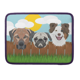 Illustration lucky dogs on a wooden fence sleeve for MacBook pro