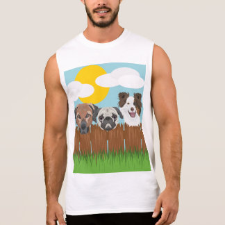 Illustration lucky dogs on a wooden fence sleeveless shirt