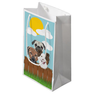 Illustration lucky dogs on a wooden fence small gift bag