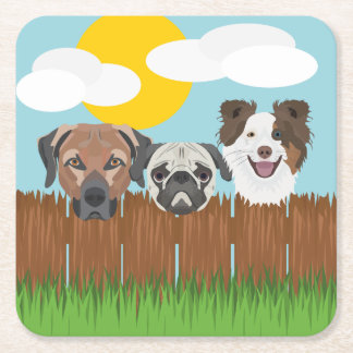 Illustration lucky dogs on a wooden fence square paper coaster