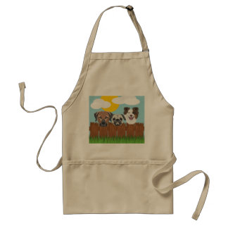 Illustration lucky dogs on a wooden fence standard apron