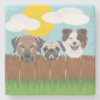Illustration lucky dogs on a wooden fence stone coaster