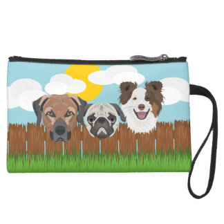 Illustration lucky dogs on a wooden fence suede wristlet