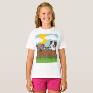 Illustration lucky dogs on a wooden fence T-Shirt