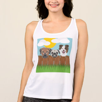 Illustration lucky dogs on a wooden fence tank top