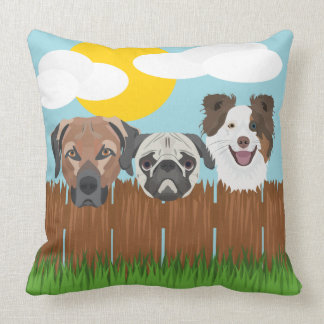 Illustration lucky dogs on a wooden fence throw pillow