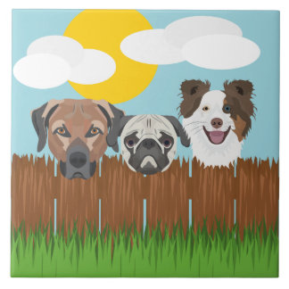 Illustration lucky dogs on a wooden fence tile