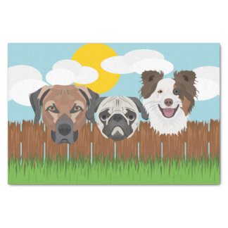 Illustration lucky dogs on a wooden fence tissue paper
