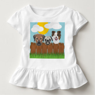 Illustration lucky dogs on a wooden fence toddler t-shirt