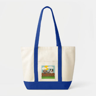 Illustration lucky dogs on a wooden fence tote bag