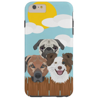 Illustration lucky dogs on a wooden fence tough iPhone 6 plus case