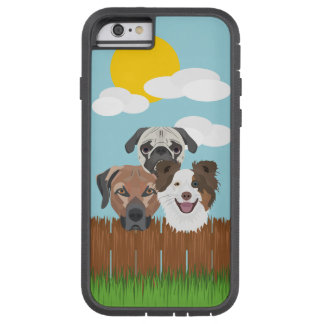 Illustration lucky dogs on a wooden fence tough xtreme iPhone 6 case