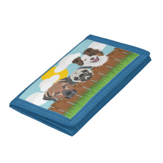 Illustration lucky dogs on a wooden fence tri-fold wallet