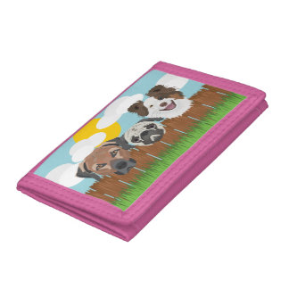 Illustration lucky dogs on a wooden fence tri-fold wallets