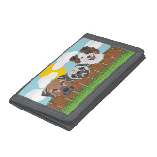 Illustration lucky dogs on a wooden fence trifold wallet