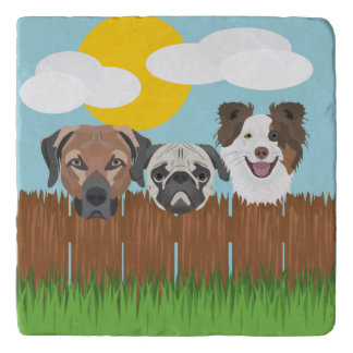 Illustration lucky dogs on a wooden fence trivet