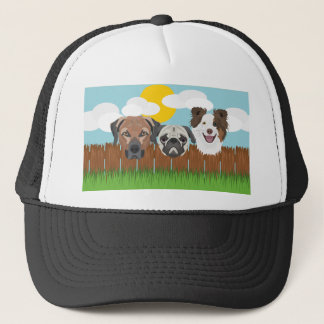 Illustration lucky dogs on a wooden fence trucker hat