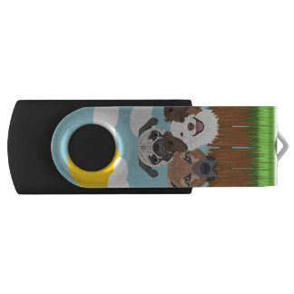 Illustration lucky dogs on a wooden fence USB flash drive